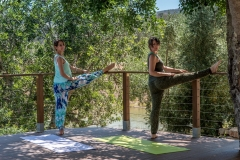 Yoga stretch postures outdoors