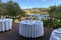 Wedding tables set with views of the river