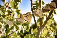 Fig tree decorated with rustic wedding paper hearts