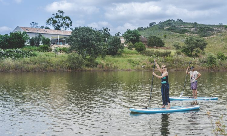 Stand up paddle boarding on retreat