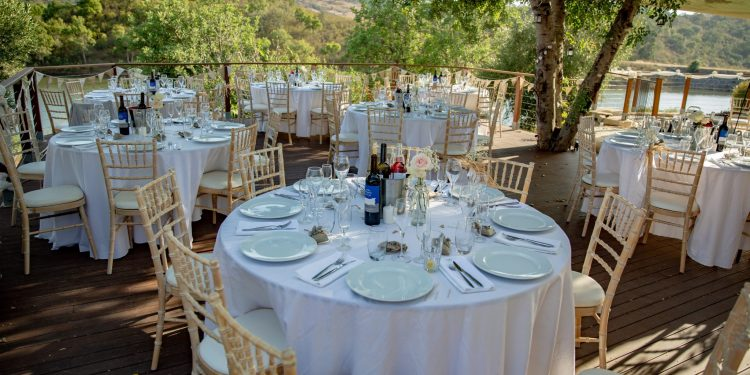 Wedding tables under mature carob trees