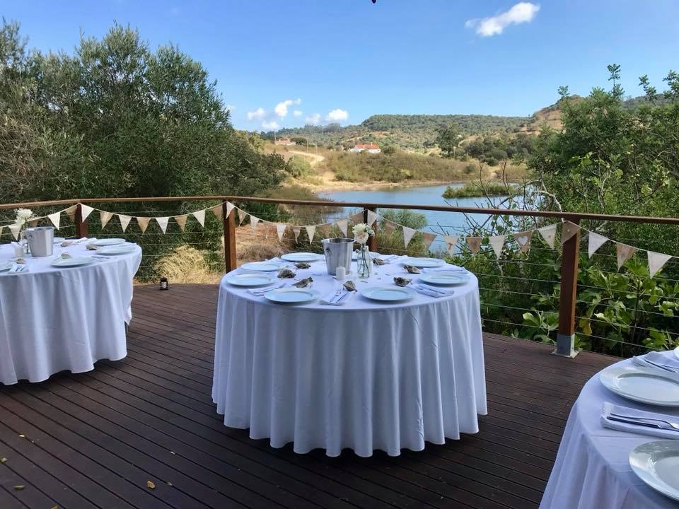 Wedding table setting with water view