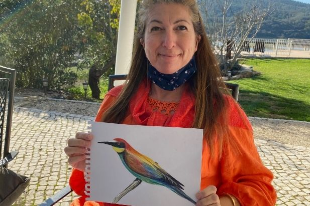 Watercolour workshop, painting the colourful bee-eater bird