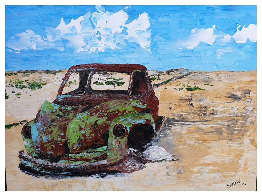 palette knife painting old car