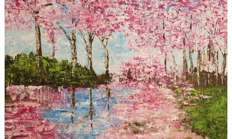 palette knife painting tree pink blossom